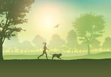 Vrouwelijke jogging met hond in platteland royalty-vrije illustratie