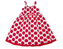 Vrouwelijke jong geitjekleding in rode die vlekken op wit worden geïsoleerd De slijtage van de meisjespartij Royalty-vrije Stock Afbeelding