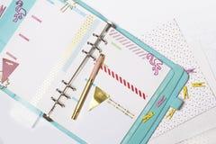 Vrouwelijke kantoorbehoeften: de kleurrijke document palm en flamin van bindmiddelenklemmen royalty-vrije stock foto