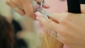 Vrouwelijke kappergreep ter beschikking tussen vingershaarlok, kam en schaarclose-up stock videobeelden