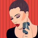 Vrouwelijke karaokezanger met microfoon in de hand, vectorkunstbanner Stock Afbeeldingen