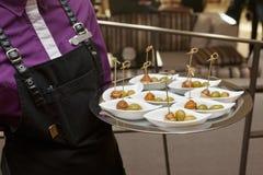 Vrouwelijke kelner met dienblad van kleine snacks Royalty-vrije Stock Foto's