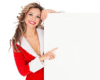 Vrouwelijke Kerstman Stock Afbeeldingen