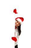 Vrouwelijke Kerstman met aanplakbord Royalty-vrije Stock Foto