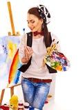 Vrouwelijke kunstenaar op het werk Stock Fotografie