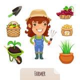 Vrouwelijke Landbouwer Icons Set Stock Afbeelding