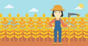 Vrouwelijke landbouwer met zeis vectorillustratie vector illustratie