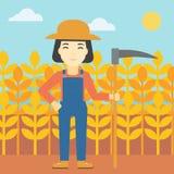 Vrouwelijke landbouwer met zeis vectorillustratie stock illustratie