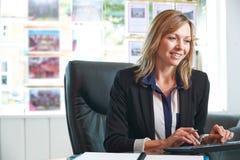 Vrouwelijke Landgoedagent Working At Computer in Bureau stock foto's