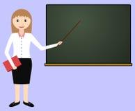 Vrouwelijke leraar bij het bord stock illustratie