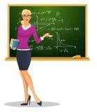 Vrouwelijke leraar met bord Stock Foto's