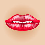 Vrouwelijke lippen op naakte achtergrond Illustratie van zoete hartstocht Make-upmond Vrouwenkus Stock Foto's