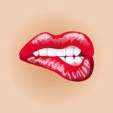 Vrouwelijke lippen op naakte achtergrond Illustratie van zoete hartstocht Make-upmond Vrouwenkus Royalty-vrije Stock Afbeeldingen