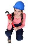 Vrouwelijke loodgieter Stock Foto's