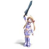 Vrouwelijke mangavoorvechter met reusachtig zwaard vector illustratie