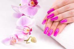 Vrouwelijke manicure met roze orchidee en handdoek stock fotografie