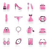 Vrouwelijke Maniervoorwerpen en toebehorenpictogrammen Royalty-vrije Stock Foto's