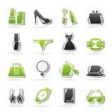 Vrouwelijke Maniervoorwerpen en toebehorenpictogrammen Royalty-vrije Stock Fotografie