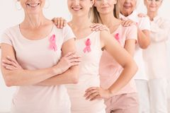 Vrouwelijke mensen met roze linten Stock Afbeeldingen