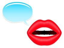 Vrouwelijke mond met toespraakbellen Royalty-vrije Stock Afbeeldingen