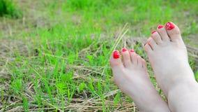 Vrouwelijke naakte benen met rode pedicure op gras stock video