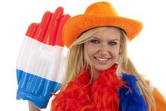 Vrouwelijke Nederlandse voetbalventilator Stock Afbeeldingen