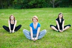 Vrouwelijke oefening op het gras Royalty-vrije Stock Foto