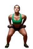 Vrouwelijke oefeningen met vrije gewichten Stock Afbeelding