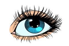 Vrouwelijke ogen met blauwe leerling vector illustratie