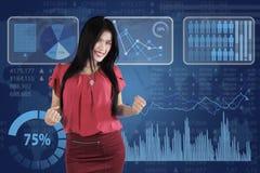 Vrouwelijke ondernemers en bedrijfsgrafiek Royalty-vrije Stock Afbeelding