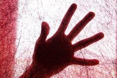 Vrouwelijke palm door een rood gevoelde stof die op een spinneweb lijken arachnophobia Zoeken gebruikend waarneming stock foto
