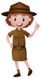 Vrouwelijke parkboswachter in bruine eenvormig royalty-vrije illustratie