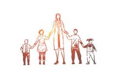 Vrouwelijke pediater, jongens en meisjes die handen, kinderen arts met kleine pati?nten houden, gezondheidszorg vector illustratie