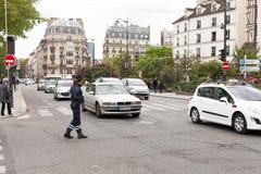 Vrouwelijke Politieman Paris Stock Foto