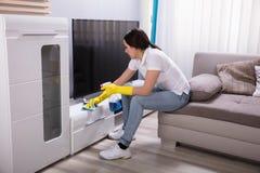 Vrouwelijke Portier Cleaning Furniture stock afbeeldingen