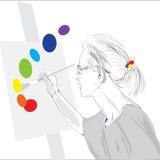 Vrouwelijke schilder Stock Foto's