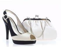 Vrouwelijke schoenen en handtas Stock Foto's