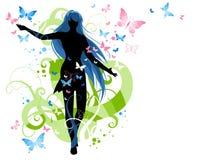 Vrouwelijke silhouet en vlinder Stock Foto's