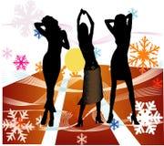 Vrouwelijke silhouetten die in een disco dansen Stock Afbeelding