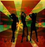 Vrouwelijke silhouetten die in een disco dansen Stock Foto