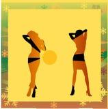 Vrouwelijke silhouetten die in een disco dansen Stock Foto's
