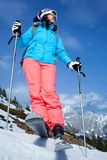 Vrouwelijke skiër Stock Foto