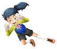 Vrouwelijke speler die bal met vlag van Nieuw Zeeland gebruiken stock illustratie