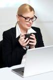 Vrouwelijke stafmedewerker die laptop holdingsmok bekijkt Stock Afbeeldingen