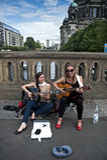 Vrouwelijke straatmusici Royalty-vrije Stock Fotografie