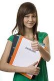 Vrouwelijke student met aktentasCertificatie Stock Fotografie