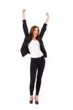 Vrouwelijke student met het opgeheven handen schreeuwen. stock afbeelding