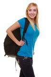 Vrouwelijke student van het portret de toevallige blonde glimlachende meisje met geïsoleerde zakrugzak Stock Foto's