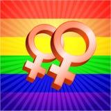 Vrouwelijke symbolen op gloeiende regenboogachtergrond Stock Foto's