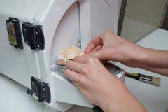 Vrouwelijke tandtechnicus die in tandlaboratorium werken stock foto's